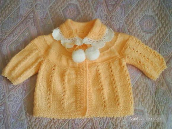 Вязание спицами жакет для девочки до года